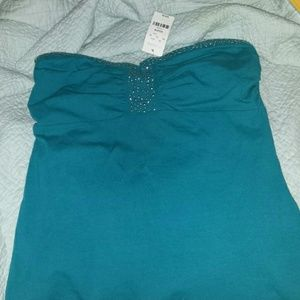 Express strapless top lined with silver tone studs